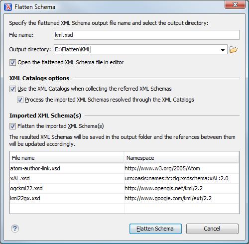 Flatten an xml schema figure flatten schema dialog box ccuart Images