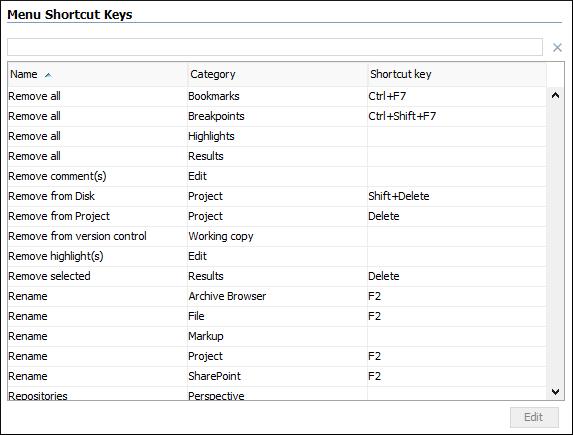 menu shortcut keys preferences