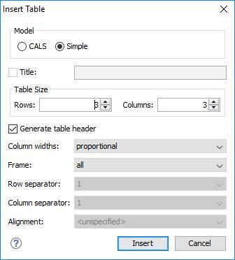 Adding Tables in DITA Topics