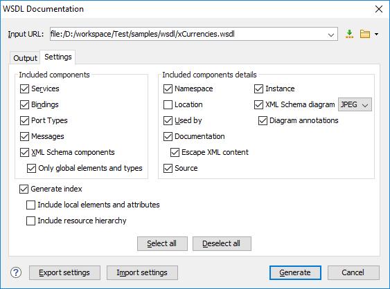 Generating Documentation for WSDL Documents