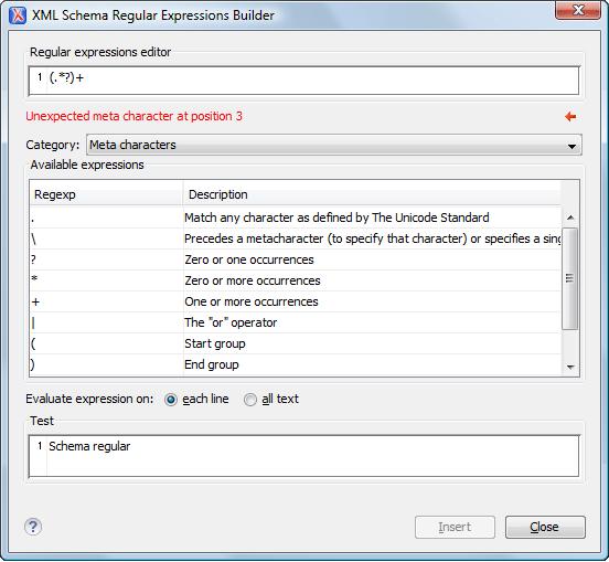 Xml Schema Regular Expressions Builder Tool