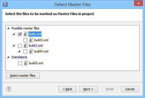 Editing Ant Build Files in Context of Master Files