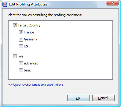 Edit profiling attributes screenshot