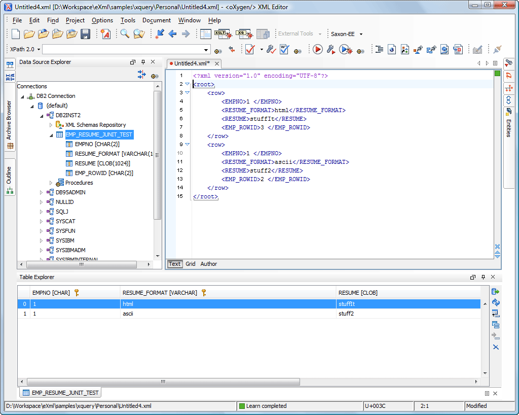 how to create xml database