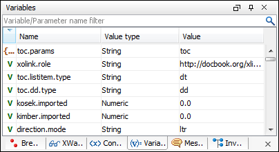 Variables and parameters view