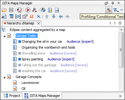 Conditions on DITA topic References
