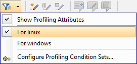 Toolbar action showing the profiling/condtional text menu
