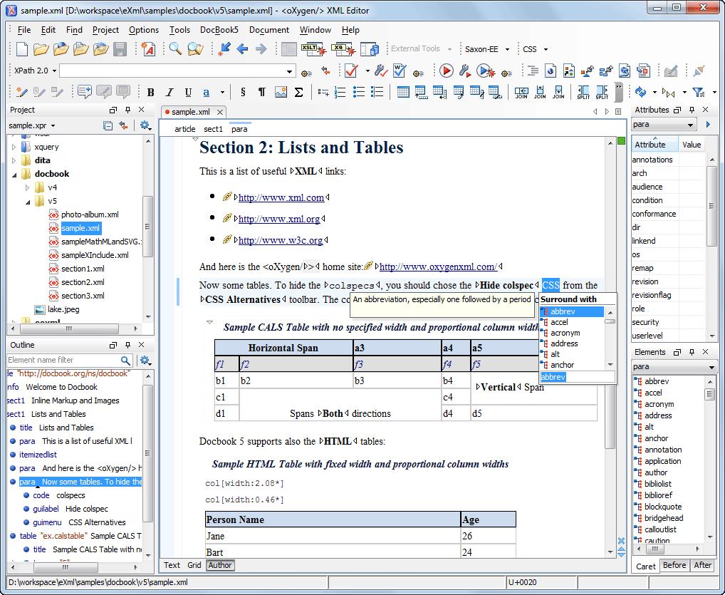 Docbook Editing Oxygen Xml Editor