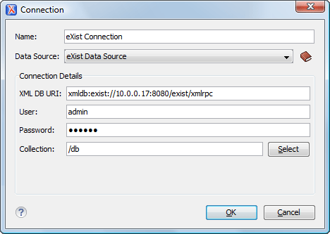 eXist Connection Configuration Dialog