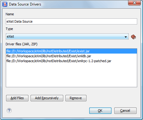 eXist Data Source Configuration Dialog
