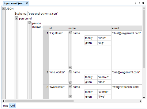 JSON Editor Grid Mode