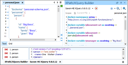 JSON XQuery Builder View