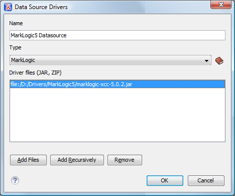 MarkLogic Data Source Configuration Dialog