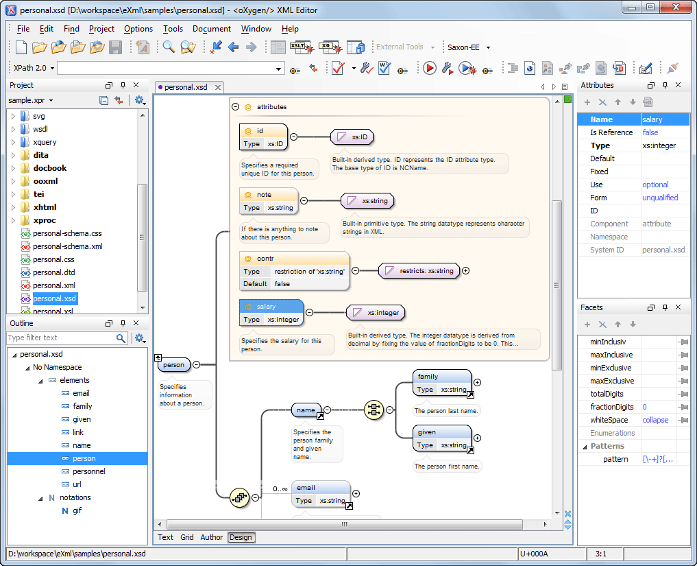 Visual XML Schema Diagram Editor (Design Mode)