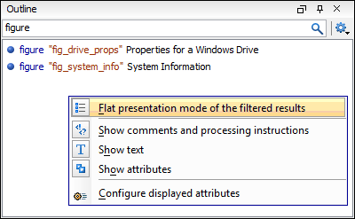 Filtering in the XML outliner, the flat presentation mode