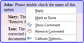 Comments Toolbar