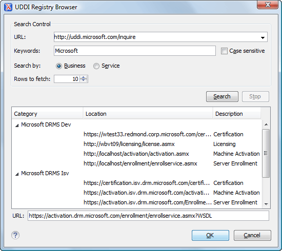 UDDI Registry Browser