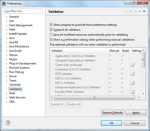 Suspend automatic validation in Eclipse EE