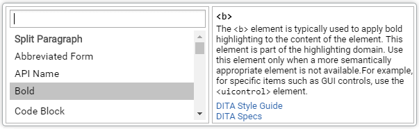 DITA Content Completion