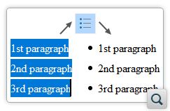Convert Paragraphs to List Items and Change List Item Type