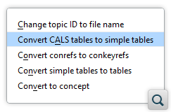 Convert CALS Tables to Simple Tables