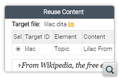 Document Preview Added in Reuse Content and Cross Reference Dialog Boxes