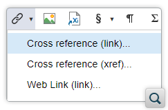 Toolbar Actions to Insert XInclude and Links