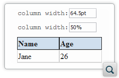 Edit Table Column Specification Values Using Form Controls