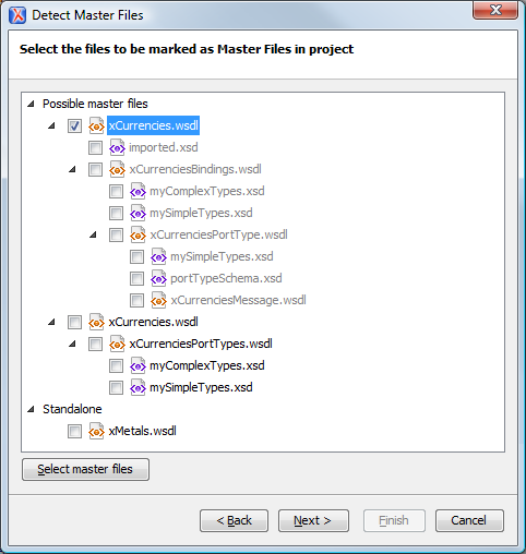 WSDL Detect Master Files