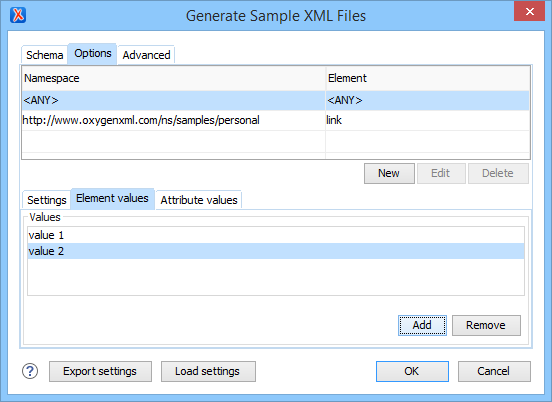 Generate Sample XML Files - Element Options