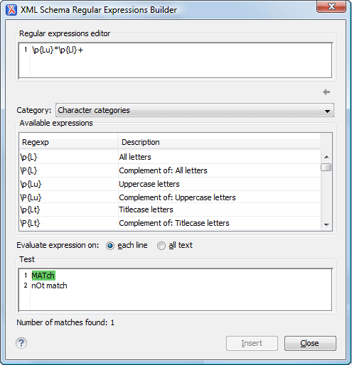 XML Schema Regular Expressions Builder