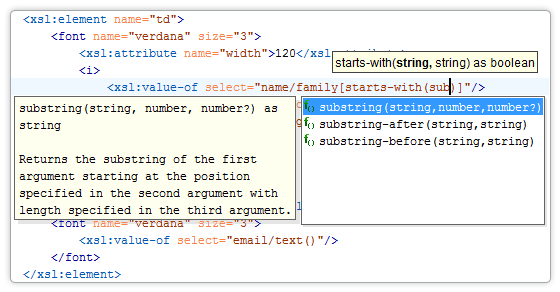 Content Assistant on XSLT showing XPath functions