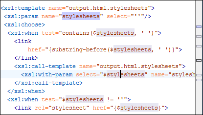 Component occurences highlighted into the XSL source