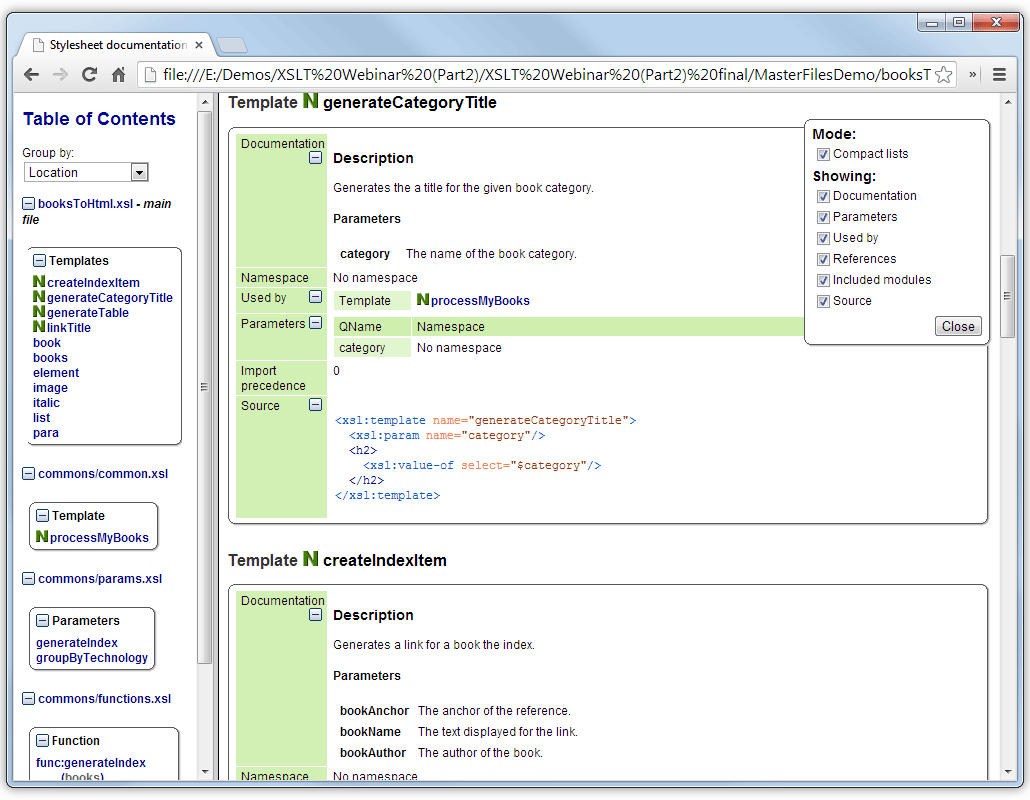 Documentation for XSLT Stylesheets